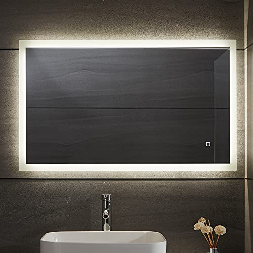 Aquamarin® LED Badspiegel - Beschlagfrei, Dimmbar, 3 Lichtfarben 3000-7000K, Kaltweiß Neutral Warmweiß, energiesparend, vertikal/horizontal, Modellwahl - Badezimmerspiegel, Lichtspiegel (50 x 70 cm)