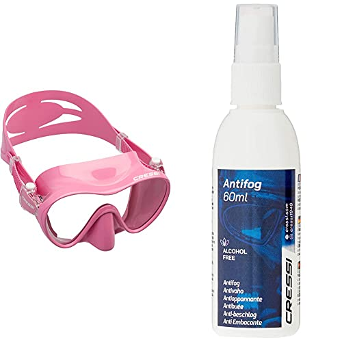 Cressi F1 Mask Máscara Monocristal Tecnología Frameless, Unisex, Rosa + Premium Anti Fog Antivaho Spray para Máscara De Buceo/Gafas De Natación, 60 Ml