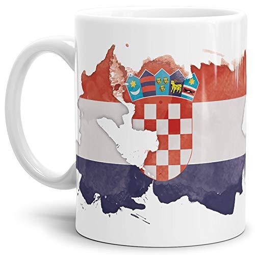 Tassendruck Flaggen-Tasse Kroatien Weiss - Fahne/Länderfarbe/Wasserfarbe/Aquarell/Cup/Tor/Qualität Made in Germany