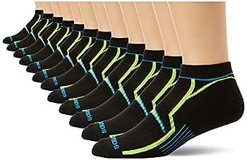 Saucony Men s Multi-Pack Bolt Performance Comfort Fit No-Show Socks Black  12 Pairs  Shoe Size  8-12