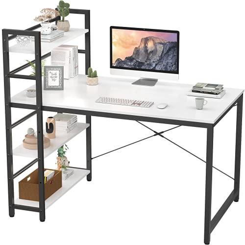 Homfio Computer Desk with Shelves, 47 inch Modern Writing Study Desk with Storage Shelf, Study Table Work Desk for Small Space Desk with Shelf Office Bookshelf Corner Desk Easy Assemble, White
