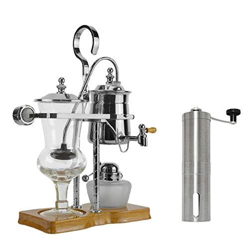 BNMY Vakuum Kaffeemaschine Siphon Kaffeemaschine Set Kaffeesiphon Haushalt Belgische Kanne Royal Kaffeekanne Mit Tragbarer Hand Kaffeemühle,Silber