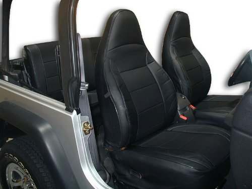 Black Artificial Leather Custom fit Front and Rear...