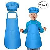Bambini Grembiule e Cappello da Cuoco Set, Grembiuli da Chef con 2 Tasche per Ragazze Ragazzi, Grembiule per Bambini Regolabile Unisex/Abbigliamento da Disegno per Bambini Dell'Asilo - Rosso (blu)