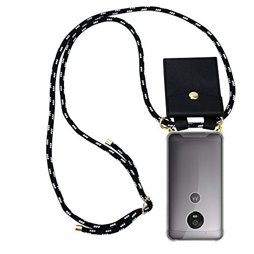 Cadorabo Handy Kette für Motorola Moto G5 in SCHWARZ Silber – Silikon Necklace Umhänge Hülle mit Gold Ringen, Kordel Band Schnur & abnehmbarem Etui – Schutzhülle