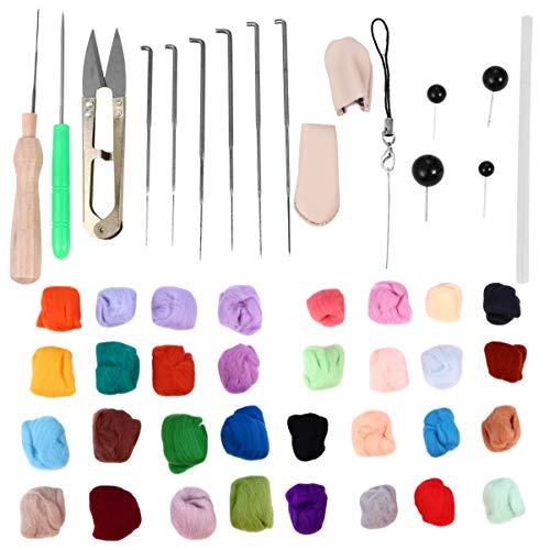 TEHAUX 1 Satz Nadelfilzset Nadelfilz-Starterkit Wollfilzwerkzeuge mit Anleitung zum Filzwerkzeug für Filzgeschenke Nadelfilzzubehör