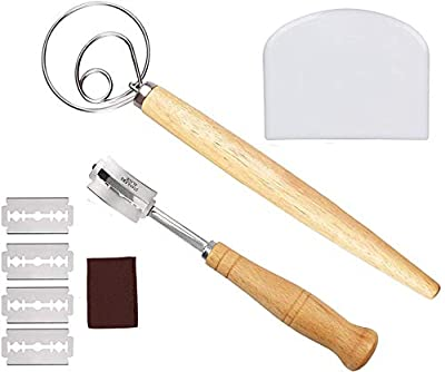 Bread Baking Tool Set for Homemade, Includes Danish Dough Whisk, Plastic Dough Scraper, Scoring Lame Bread Slashing Tool with 5 Blades and Protective Cover for Bread, Cake, Pizza