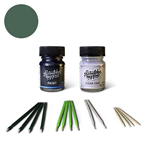 ScratchesHappen Exact-Match Touch Up Paint Kit Compatible with Vespa Green Matte/Matt Verde (344/A) - Bottle, Essential