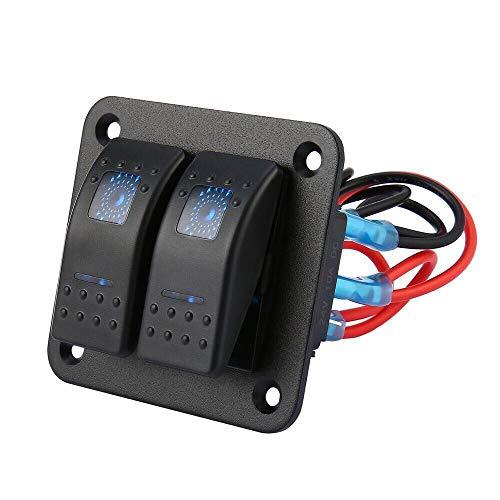 Fesjoy Panel de interruptores para Barco, Panel de interruptores de 3 pandillas para embarcaciones de vehículos recreativos Panel de interruptores basculantes con luz LED Azul Panel de interruptores