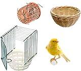 Motisi Zootecnici Nido per CANARINI Esterno Gabbia INMETALLO + Base in PLASTICA Uccelli Uccellini + Vimini