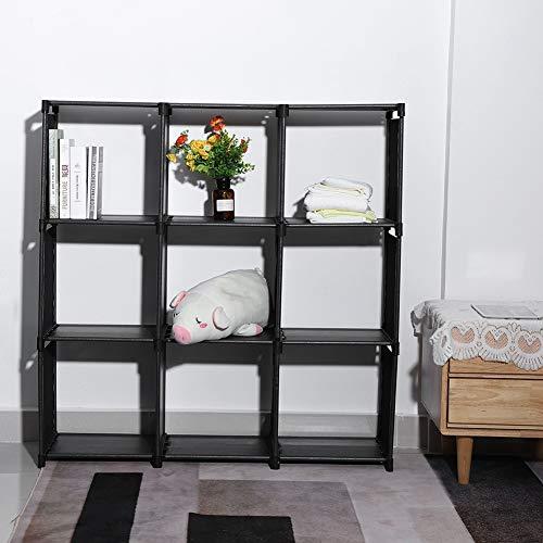 Modulare Regal Fai Te mit 9 Würfeln mit 3 Etagen aus hochwertigem Kunststoff, Kleiderschrank, stabil und einfach zu montieren, 106,5 x 109,5 x 30,5cm
