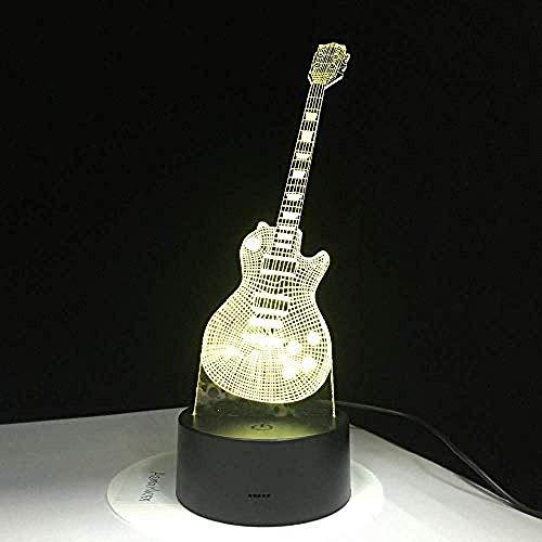 3D elektrische gitaarlicht 7 kleurrijke USB tafellamp baby slaap-nachtlampje muziek saxofoon decoratie en controle kinderen cadeau