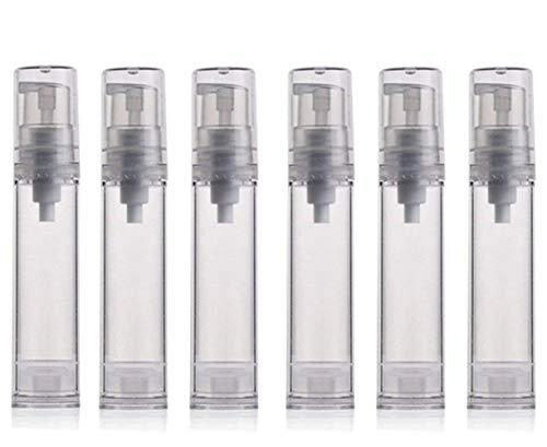 12PCS 10ML / 0.34oz Transparent Small Ounce Empty PS Plastic Airless Vacuum Pump Press Bottle Jar Pot Vial Container For Cosmetic Makeup Serums Cream Lotion Travel Toiletries Liquid Toner Sample