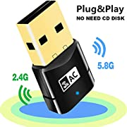 New Plug and Play USB WiFi Adapter,Dual Band 600Mbps USB Wireless Network Adapter WiFi Dongle for PC/Desktop/Laptop,Support Windows 10/8/8.1/7/Vista/XP/2000,Mac OS 10.6-10.13,No CD Disk Need