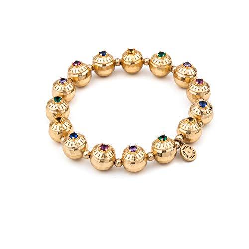 Honey Minx Women's Elliptical Signet Gemstone Bracelet Gold