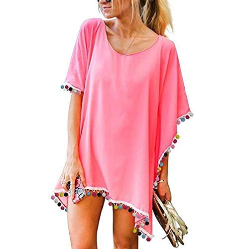 JMITHA Abito da Spiaggia Donna Bikini Beach Cover up Chiffon Nappa Costume da Bagno Copricostumi Mare Copricostume (One Size(XS-2XL), Rosa(Colorful Pom))