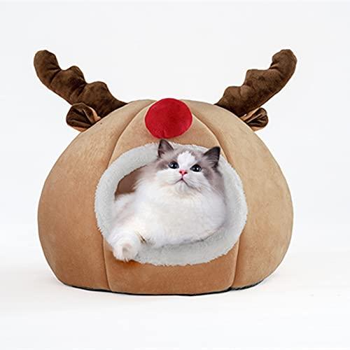 Gojiny Cama de Casa de Gato Lindo Aspecto de Alce de Navidad Nido Cálido de Invierno Tienda de Campaña con Cojín para Gatos Y Perros Pequeños
