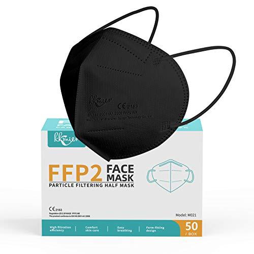 KKmier Mascarillas FFP2 máscaras protección contra el polvo PM2.5, Mascarilla (Paquete de 50) eficiencia del filtro ≥95%, adecuado para el hogar, oficina, al aire libre