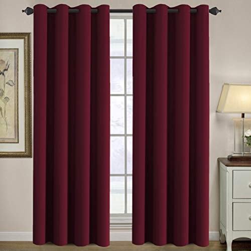 H.VERSAILTEX Blackout Thermal Insulated Room Darkening Winow Treatment Extra Long Curtains/Drapes,Grommet Panels (Set of 2,52 by 108 - Inch,Solid Warm Taupe)