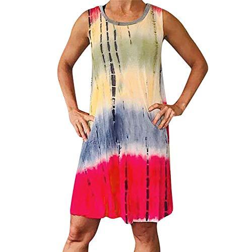 LaiYuTing Lässig Bedrucktes Sexy Weste-Kleid Mit Sommermode für Damen