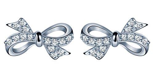Infinite U - Orecchini a perno, a forma di fiocco/farfalla, in argento Sterling 925e zirconia cubica, color argento