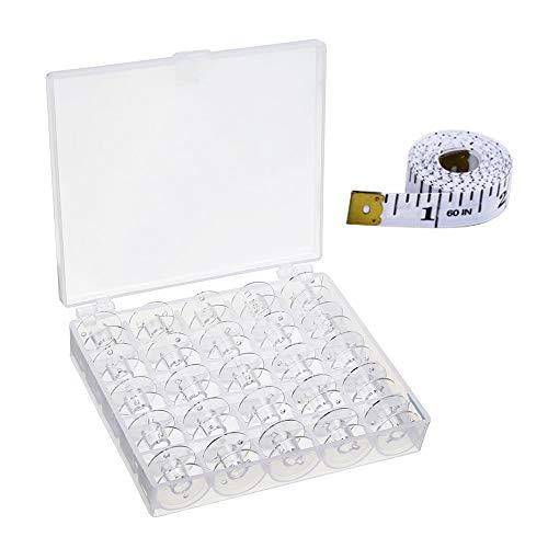 Elna Singer Guajave 25 Leere Spulen N/ähmaschinen-Spulen aus transparentem Kunststoff mit Aufbewahrungsbox f/ür Brother Janome