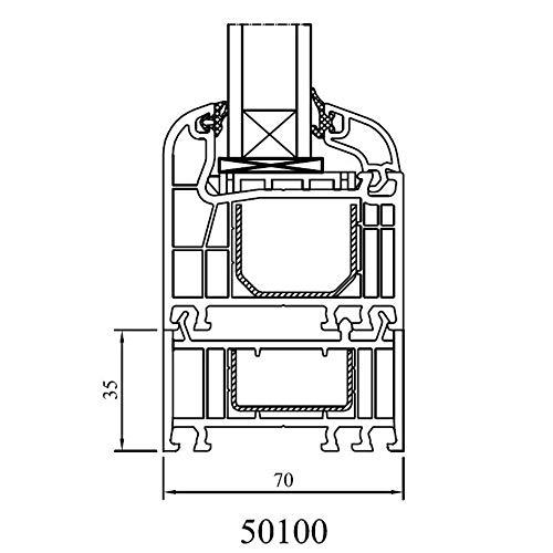 Drutex - Rahmenverbreiterung für Iglo 5, Iglo 5 Classic und Iglo Light Profile, Höhe in mm:35 mm, Länge:bis 3000mm