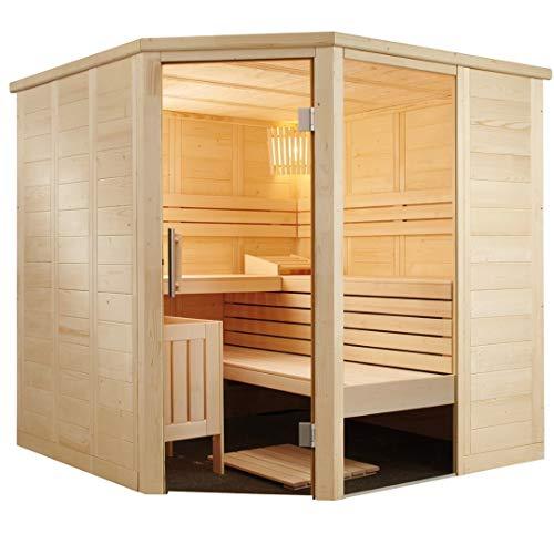 SAUNELLA Sauna mit Ofen + Verdampfer | Bausatz Heimsauna – Saunakabine Maße: 206 x 206 x 204 cm | Saunaofen Komplett Sauna Zubehör Ecksauna Eckeinstieg Massivholz | mit ext. Steuerung 3,4 kW
