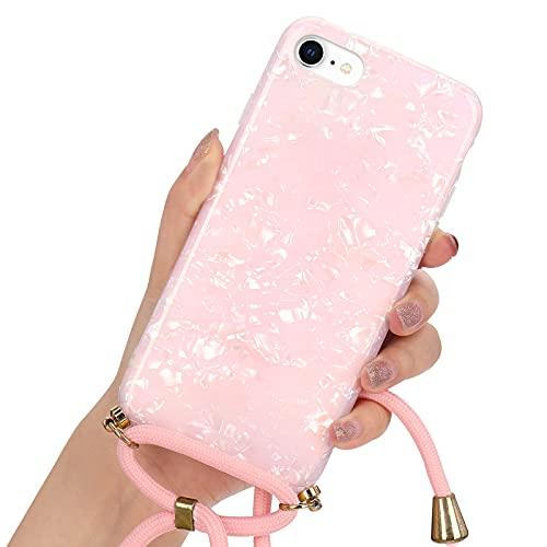 LLZ.COQUE Handykette für iPhone 6/6S(4.7 Zoll) Hülle mit Kordel zum Umhängen Necklace Hülle Muschel Case für iPhone 6/6S Silikon Handyhülle mit Schnur, Schutzhülle mit Band Rosa