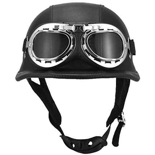 YANODA Motorradhalbhelm Mit Brille Biker Bike Motorrad Fliegerhelm Sicherheit (Size : L)