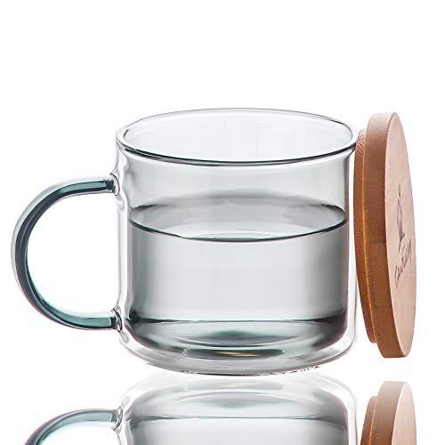 Colorati Tazza in Vetro a Doppia Parete con Manico e Coperchio (275ml), Candiicap Tazzine da Caffè per Bevande Calde e Fredde, Bicchiere Tazzine per Colazione, Tè, Caffè, Latte, Cappuccino, Birra