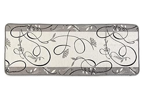 HomeLife Tappeto Cucina Antiscivolo Lavabile Lungo 55X290 Made in Italy | Passatoia Moderna in Ciniglia Colorata Disegno Piazzato Fantasia Foglie | Tappeto Runner Lungo Colorato [55X290, Grigio]