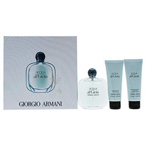 Giorgio Armani Acqua Di Gioia 3 Peice Gift Set Edp Spray for Women, Fresh Shower Gel, Moisturizing Perfumed Body Lotion, 3 Count
