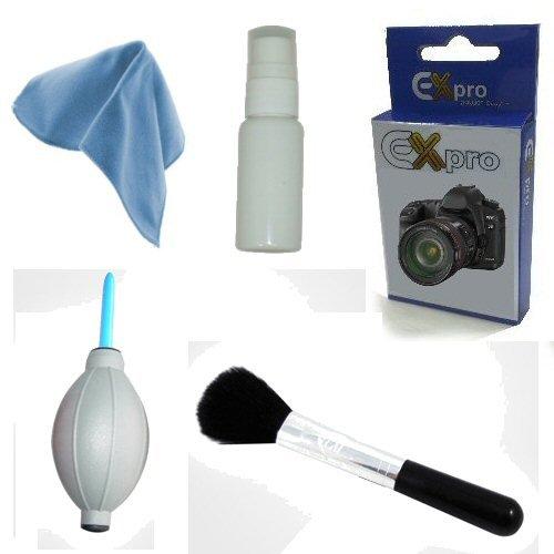 Ex-Pro-Kit de limpieza profesional (con pincel, gamuza y líquido óptico) para cámara de fotos para Vivitar Vivicam Digital Cameras
