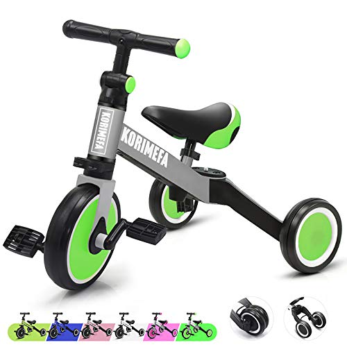 3 in 1 Kids Trike for Children 1-3 Years Old Kids Tricycle Boys Girls Baby Balance Bike 2 Wheels for Toddlers Tricycle with Removable Pedals, Green