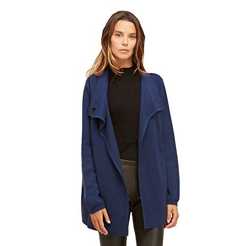 Dames vest jasje van 100% extra fijne merino wol met Elegante knoop in de nek Kleur bleuw