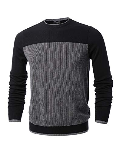AFAIK as far as I know - Men's Crew Neck Pullover Cotton Knitted Long Sleeve Casual Sweater (X-Large, 1039-black/gray)