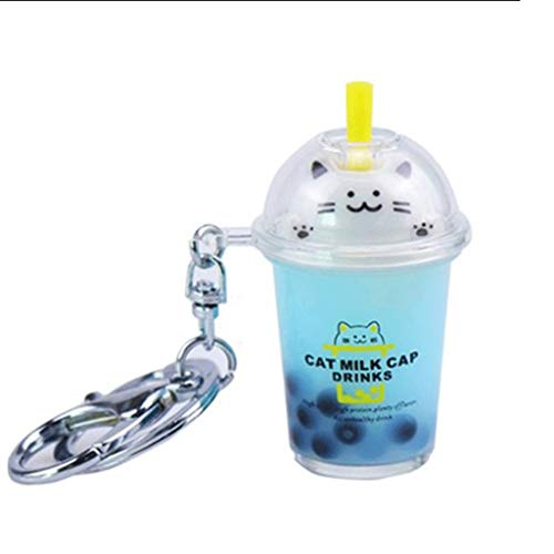 Zaza Keychains cheap Personality Car Keychain,Milk Tea Pendant Keychain Chain,Male Lady Metal Keychain,For Bag Decoration,Couple Cartoon Pendant keychain ring (Color : Blue)