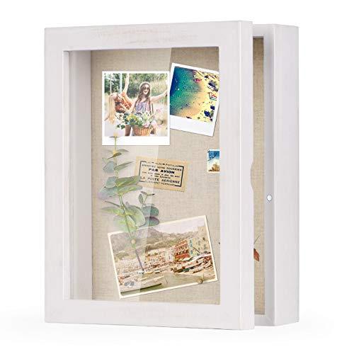 Love-KANKEI 3D Bilderrahmen 20 x 25 cm Holz Objektrahmen zum Befüllen Shadow Box Frame mit 4 Stecknadeln, Geschenk für Familie Freunde usw. (Weiß)