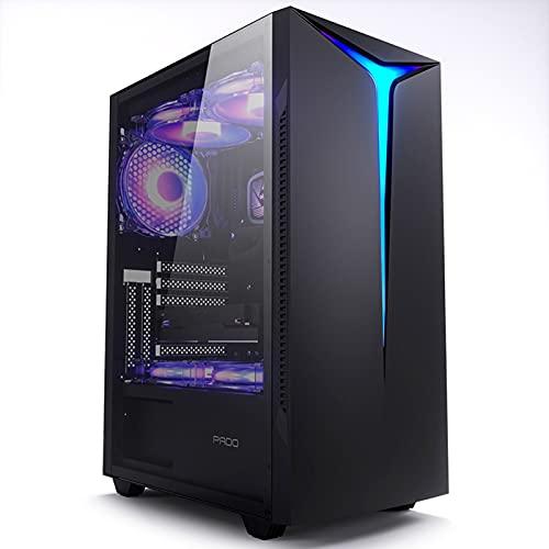 WSNBB Estuche para Juegos, ATX/M-ATX De Media Torre, Gabinete para Computadora De Juegos para PC, Panel Lateral Completamente Transparente, Soporte De Refrigeración por Agua