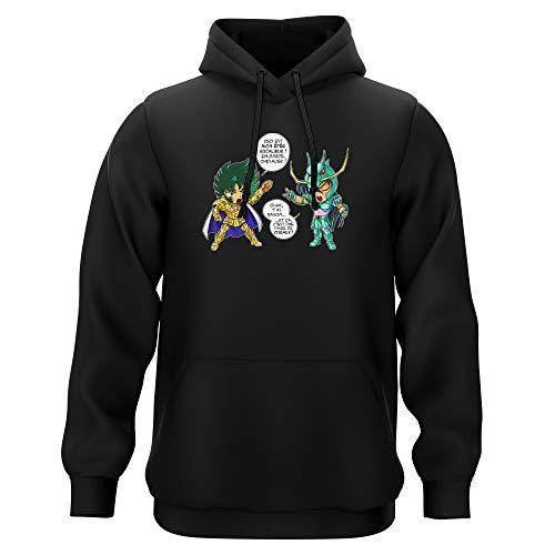 Okiwoki Sweat-Shirt à Capuche Noir Parodie Saint Seiya - Shura Chevalier d'or du Capricorne et Shiryu du Dragon - J't'AI cassé là ! (Sweatshirt de qualité Premium de Taille 3XL - imprimé en France)