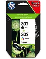 HP 302 Pack de 2 Cartouches d'Encre Noire et Trois Couleurs Authentiques (X4D37AE)