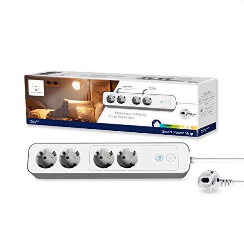 tint Müller-Licht Smart Power Strip - Regleta de 4 enchufes (2 enchufes permanentes y 2 interruptores), color blanco
