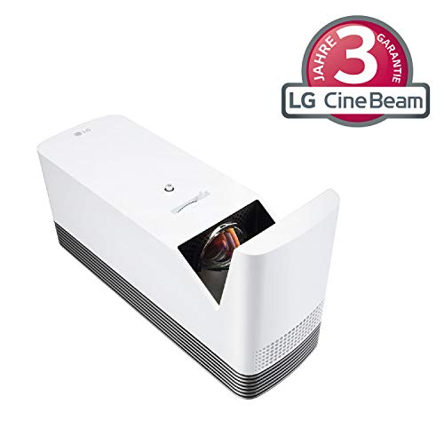 LG projektor HF85JS do 304,8 cm (120 cali) CineBeam Laser Full HD Allegro projektor (1500 lumenów, inteligentne funkcje, laser 2000), biały