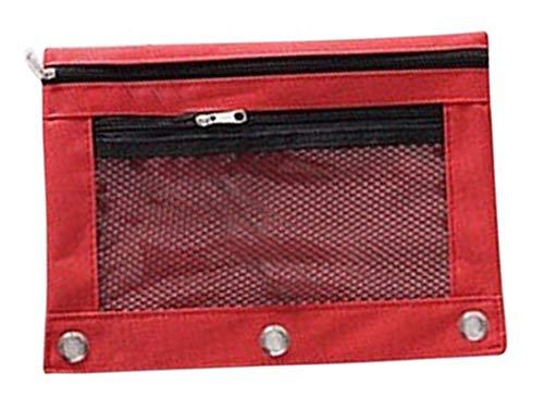 Plus Nao(プラスナオ) ファイルケース 書類ケース 小物ケース 文具 文房具 ステーショナリー B5 3穴 メッシュ窓 ジッパー 2ポケット 防水 - レッド