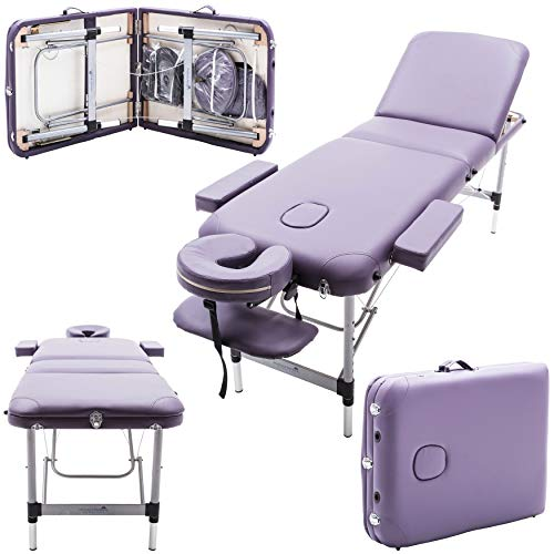 Massage Imperial Deluxe Lightweight Professional Richmond Aluminium 12Kg - Purple 3-Section Portable Massage Table Couch Bed Spa With Free Massage Table Cover 5cm/2 by Massage Imperial