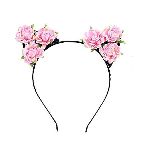 Hacoly Blumen Haarschmuck Katzenohren Haarreif Simulierte Rose Weihnachts-Haarschmuck Haarreifen Mit Ohren-Rosa