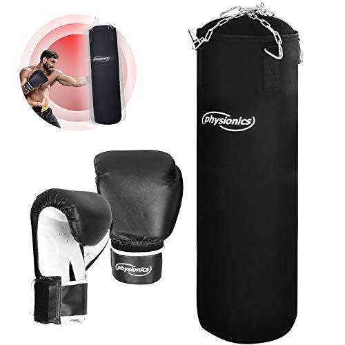 Physionics® Boxsack Set - inkl. Boxsack gefüllt 25 kg, 30/100 cm, Boxhandschuhe 10 oz, mit Stahlketten und Karabinerhaken - Punching Bag für Kickboxen, MMA, Muay Thai, Kampfsport