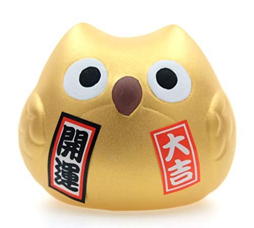 Maneki Neko Feng Shui Lucky Gold Gufo colorato per buona fortuna con soldi