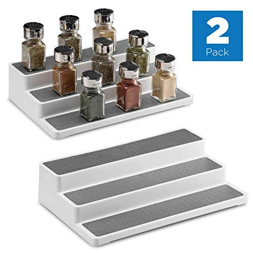 2 Pack Non Skid 3 Tier Spice Rack Organizer for Cabinet, 14.5 Inch Modern Pantry Kitchen Countertop Stand 3 Step Shelf White/Gray